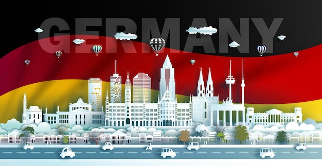 베를린 뮌헨과 바바리아에있는 독일의 여행 랜드 마크 건축물 종이 접기 종이 아트지 컷