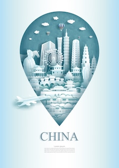 Travel landmarks china monument pin of asia modern and ancient.