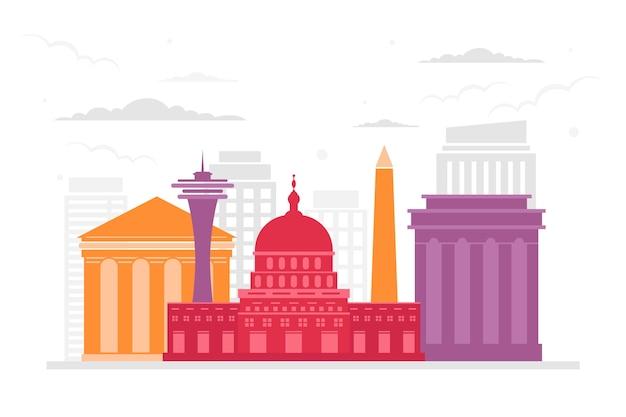 Travel landmarks colorful skyline
