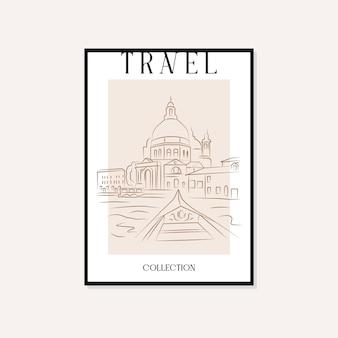 Travel and landmarks minimal illustration vector wall art poster design