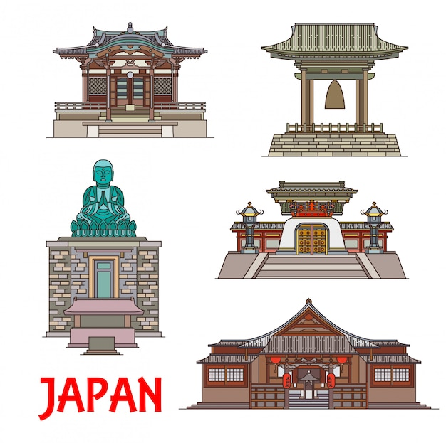 日本の細い線の旅行のランドマーク。日本の建物と像、四天王寺と大円寺、家光の徳川霊廟、鎌倉の鐘、天王寺の青銅仏