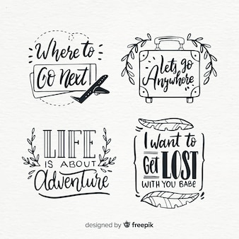 Travel lettering badge collection with quotes