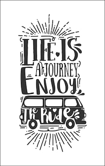 Travel lettering quote with sketches