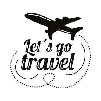 Туристические надписи с этикеткой самолета