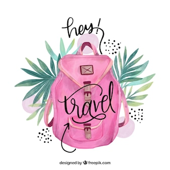 Travel lettering with watercolor pink backpack
