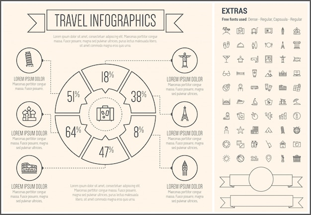Travel line design infographic template