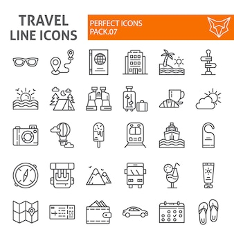 Travel line icon set, tourism collection