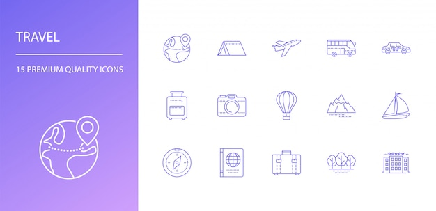 Travel line icons set