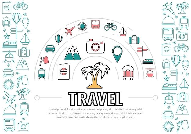 Icone di linea di viaggio