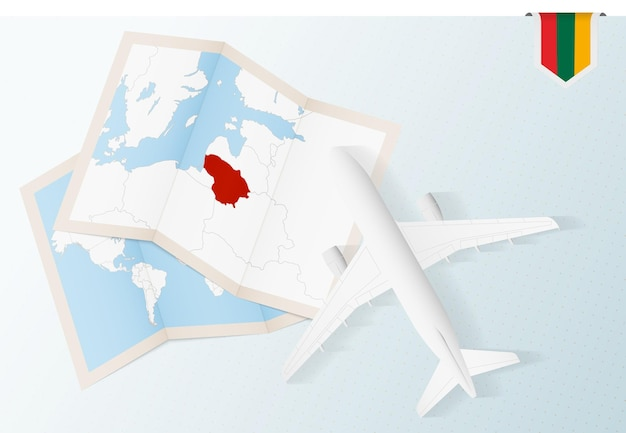 Travel to lithuania, top view airplane with map and flag of lithuania.