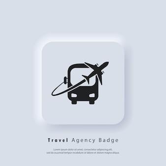 여행 로고 또는 버스 및 비행기 아이콘. 여행사 배지 로고, 벡터, 뉴모픽