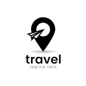 Travel logo, paper plane with pin logo design vector