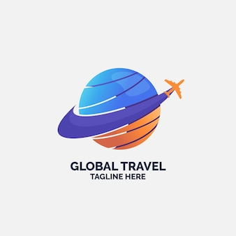 Travel logo template with plane and globe
