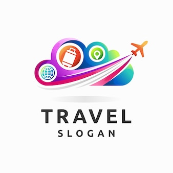 Travel logo with cloud and airplane concept