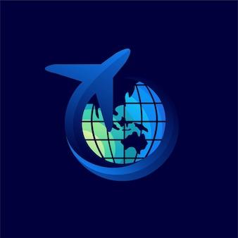 地球儀のコンセプトを持つ旅行のロゴ