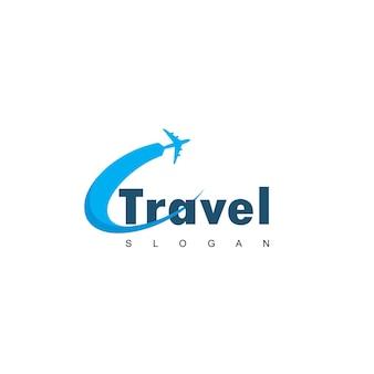 平面シンボルと旅行のロゴ