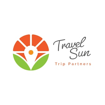 Логотип путешествия со значком местоположения солнца и булавки