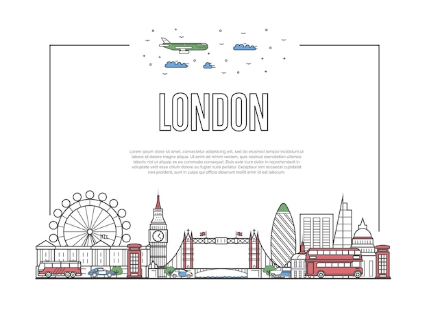 Travel london poster in linear style