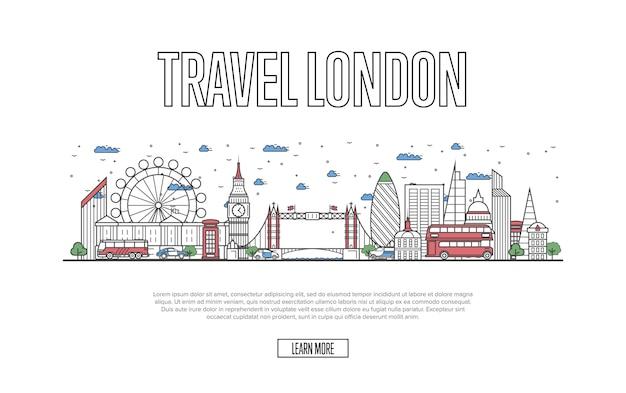 Travel london website in linear style