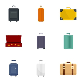 Travel luggage icon set, flat style