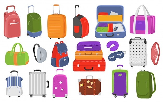 Travel luggage set for vacation and journey    illustration. plastic, metal suitcases, backpacks, bags for luggage. travel suitcases with wheels, travel bag, trip baggage, tourism.