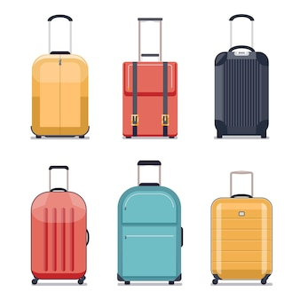 Travel luggage or travel suitcase icons. luggage set for vacation and journey.