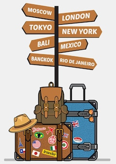 Travel luggages with sign