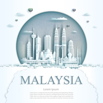 Travel malaysia monument in kuala lumpur city modern building in circle texture background. business travel