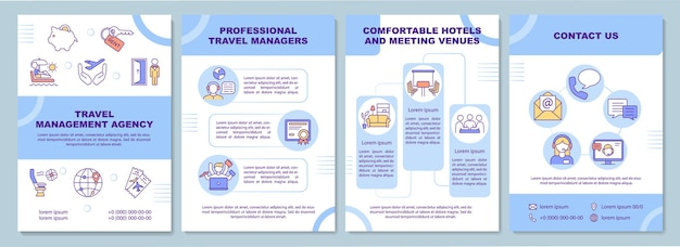 Шаблон агентства по управлению путешествиями. компания и путешественник. флаер, буклет, печать листовок, дизайн обложки с линейными иконками.
