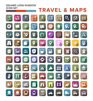 Travel and map icons set with long shadow