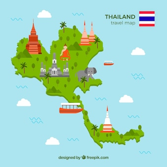 Travel map of thailand with landmarks