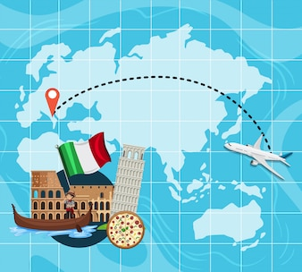 イタリアへの旅行地図