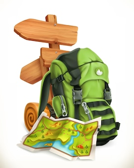 Travel. map, tourist backpack and road sign in 3d style
