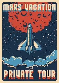 Travel to mars colorful poster