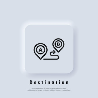 Travel navigation line icon. track distance. destination icon. route location. map location. vector eps 10. ui icon. neumorphic ui ux white user interface web button. neumorphism