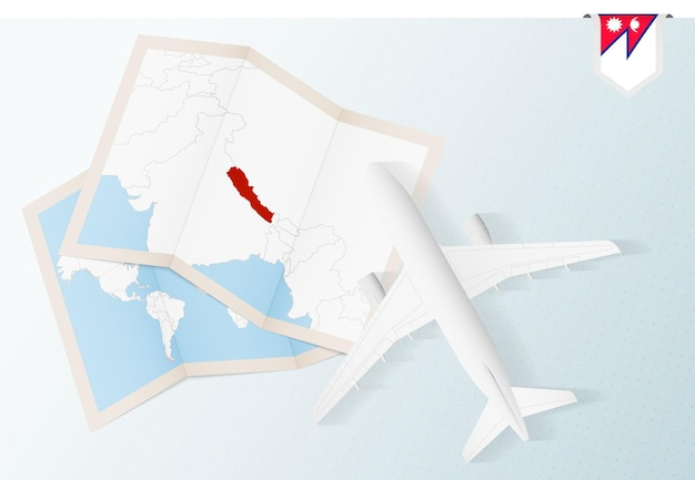 Travel to nepal, top view airplane with map and flag of nepal.