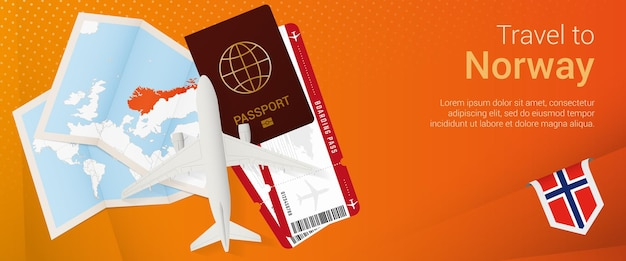 Travel to norway popunder banner trip banner with passport tickets airplane boarding pass