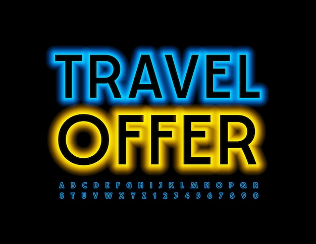 Travel offer blue glowing font neon modern alphabet letters and numbers set