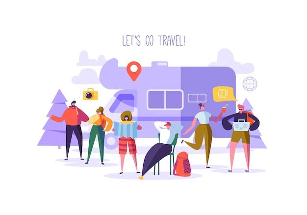 フラットな人々の旅行者と車のコンセプトで旅行