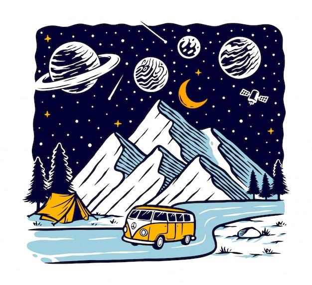 夜の図で山を旅行します。