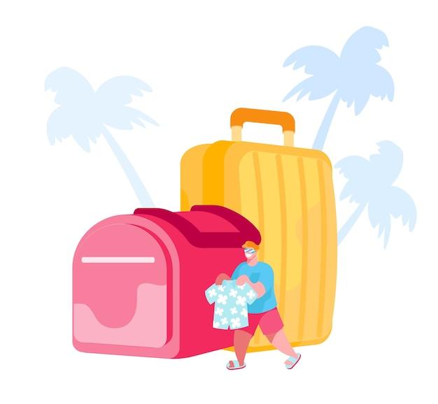 荷物を持ってトロピカルカントリーリゾートを旅する