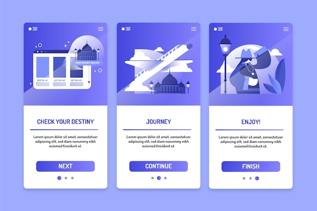 Travel onboarding app screen collection
