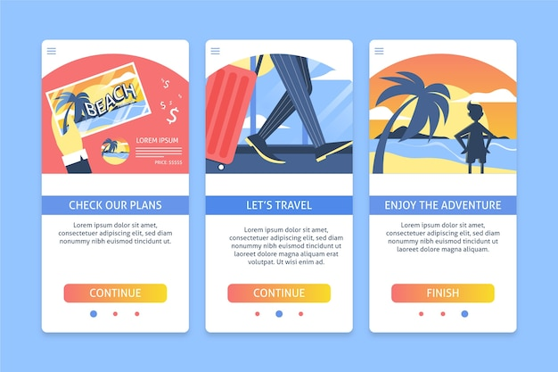 Travel onboarding app screen pack