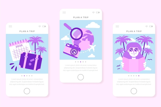 Travel onboarding app screens for mobile phone
