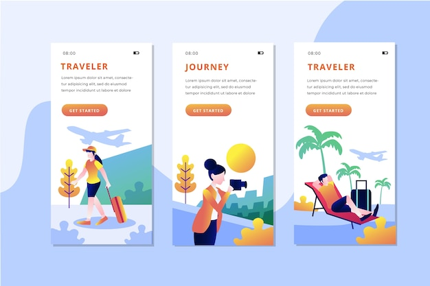 Travel onboarding app screens pack