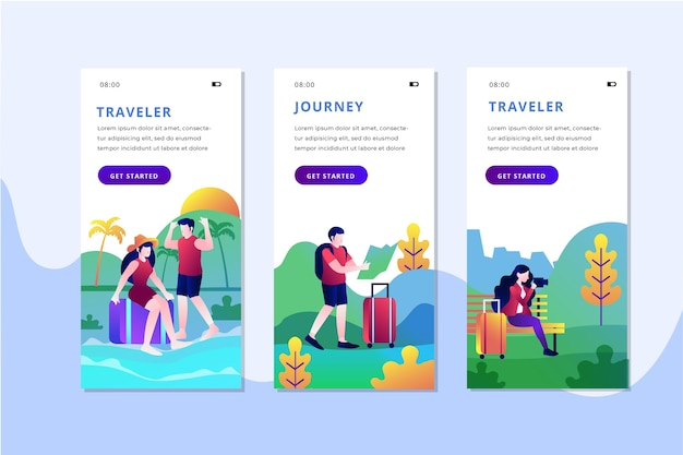 Travel onboarding app screens set