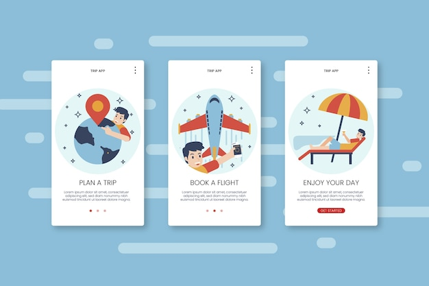 Travel onboarding app screens with phone