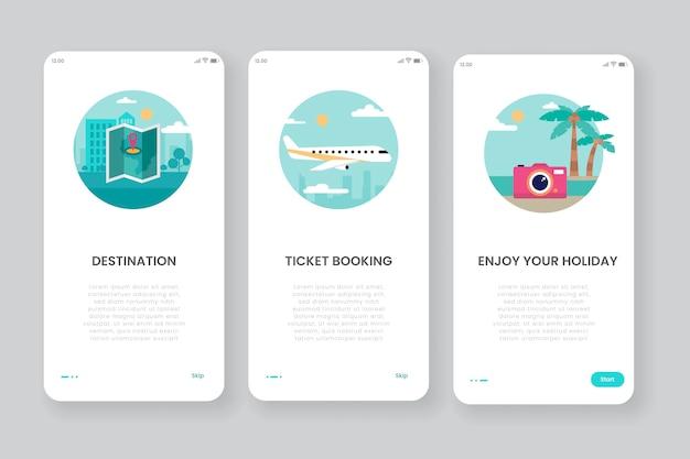 Travel onboarding app screens