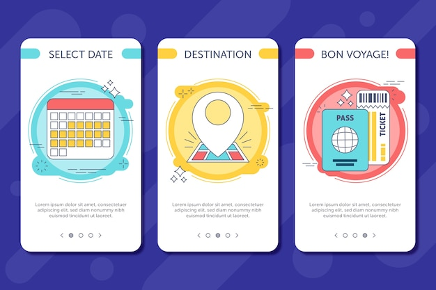 Travel onboarding app screens