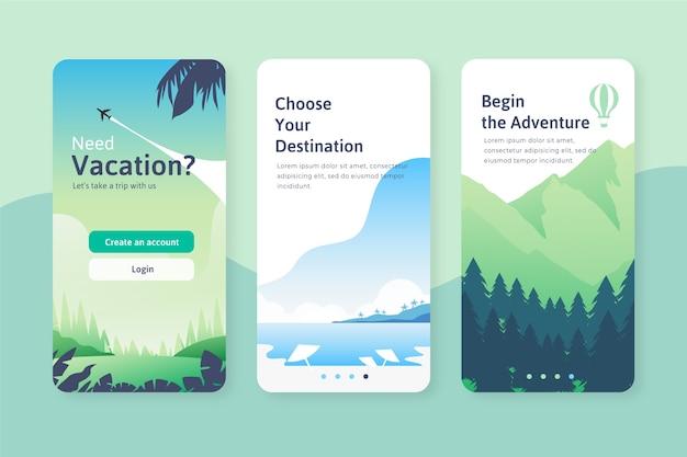 旅行のオンボーディングアプリ画面